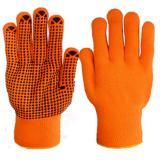 Перчатки утепл. Зима акрил, с ПВХ, оранж (600)