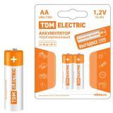 Батарейка AA Пальчиковая 1,5V NiMh аккумуляторная 1000mAh (блистер 2шт) (2/20/240) TDM