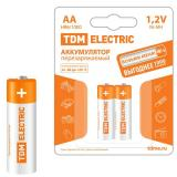 Батарейка AA Пальчиковая 1,5V NiMh аккумуляторная 800mAh (блистер 2шт) (2/20/240) TDM