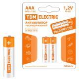 Батарейка AAA Мизинчиковая 1,5V NiMh аккумуляторная 600mAh (блистер 2шт) (24/240) TDM