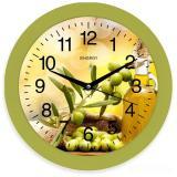 Часы настенные кварцевые ENERGY модель ЕС-100 оливки