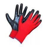Перчатки нейлоновые облитие нитрилом красно-черные (12/960)