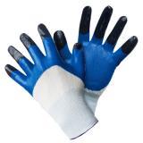 Перчатки нейлоновые с двойным нитриловым обливом Ноготки синие (12/480)