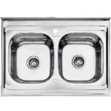 Мойка кухонная, 800*600мм, двойная, глянц, толщ. 0,6мм, глубина 165мм Accoona AB6080B (5)