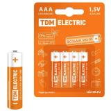 Батарейка AAA Мизинчиковая 1,5V LR03 Alkaline BP-4 (4/48) TDM