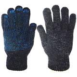 Перчатки утепл. Зима шерстяные однослойные с ПВХ, темно-серые (400)