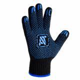 Перчатки утепл. 7 класс п/шерсть двойная с ПВХ черные (150)